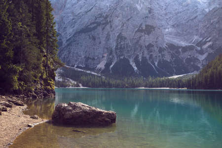 view of well-known tyrolean lake lago di Braies, Dolomites. Italy