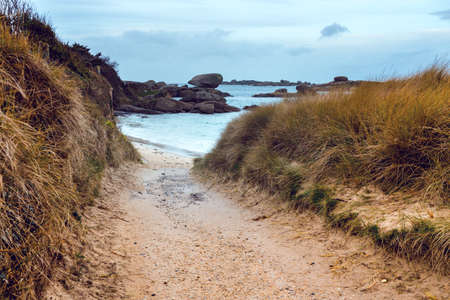 typical Brittany coast at  the Tregastel in the north of France. 