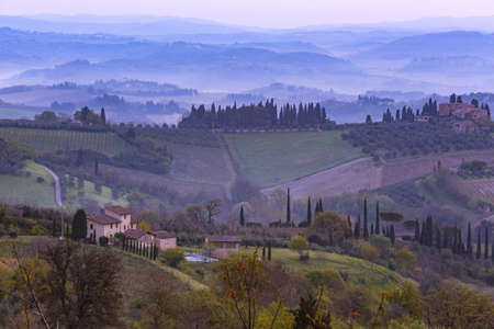 fog and typical Tuscan landscape - a view of a villa on a hill, a cypress alley and a valley with vineyards, province of Siena. Tuscany, Italy 免版税图像