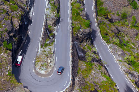 Trollstigeveien - meandering road at the norwegian mountains, Norway