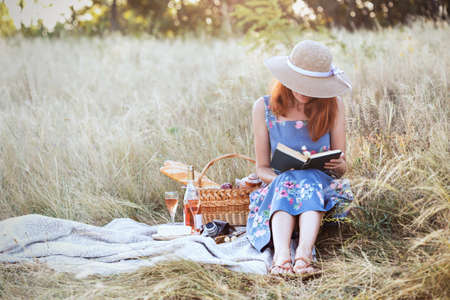 Summer - Provencal picnic in the meadow.  girl sitting reading a book and near a picnic basket and baguette, wine, glasses, grapes and rolls  Reklamní fotografie
