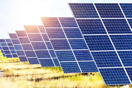 Solar Power Plants. solar panels on the sky background. alternative energy