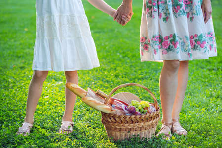 Summer - picnic on the lawn in the park.   family - mother with  daughter and basket for a picnic with baguette, wine, glasses, grapes and rolls
