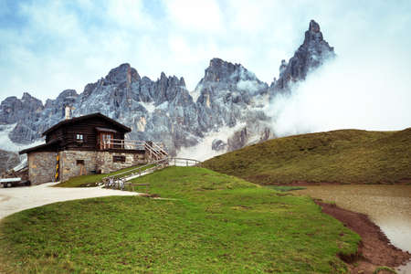 rifugio high at the Dolomites mountains. Italy.