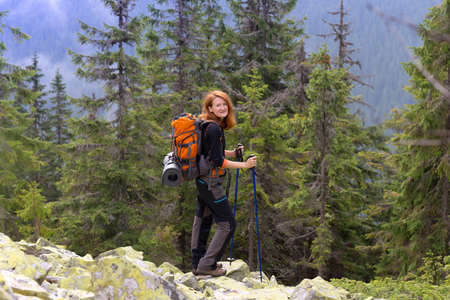 camping trip. girl hiker at the  mountains. gorgany, Ukraine. 版權商用圖片
