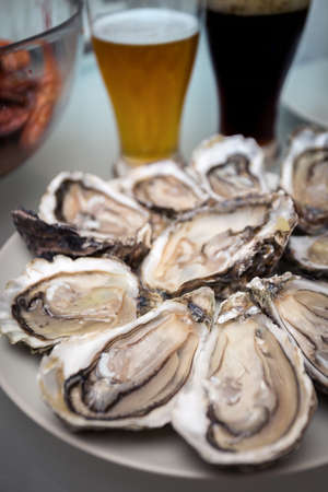 french lunch -  fresh oysters on a large plate
