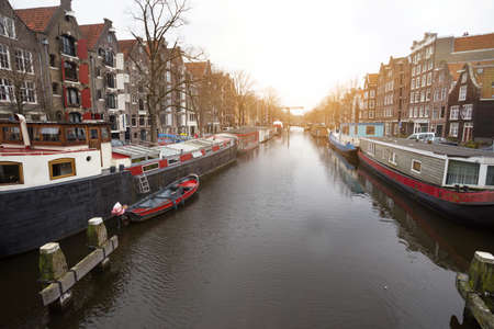 beautiful streets, canal and house on the water  in the famous city of amsterdam, netherlands Stockfoto