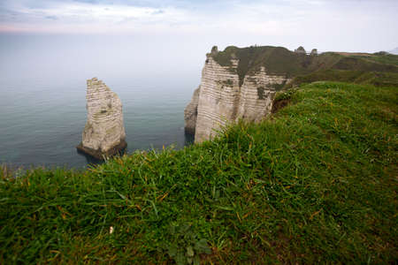 beautiful landscapes on the cliff of  Etretat on a cloudy day. France