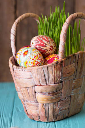 Happy Easter - basket with beautiful Easter egg Pysanka handmade. ukrainian traditional