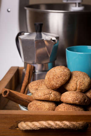homemade cakes - delicious and tasty cinnamon cookies with cup of coffee