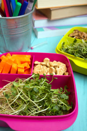 healthy snacks for schoolchildren and students. study and healthy eating. lunch box with healthy food - carrots, nuts, sprouts