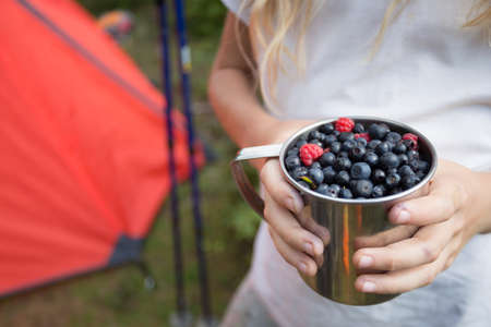 hiking in the mountains. girl holding a cup of raspberries and blueberries on the background of a tent 版權商用圖片