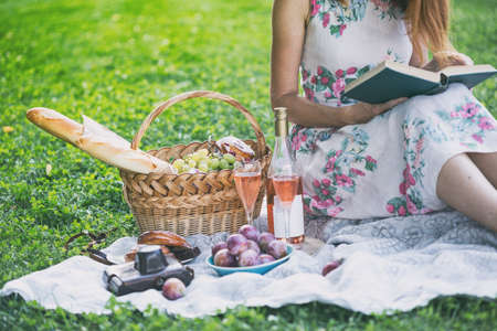 Summer - picnic in the meadow.  girl sitting reading a book and near a picnic basket and baguette, wine, glasses, grapes and rolls Stock Photo