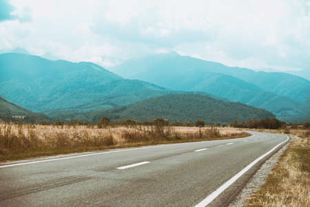 Summer Road Trip. beautiful landscape and view of a mountain road transfogaras. Romania. Stock Photo