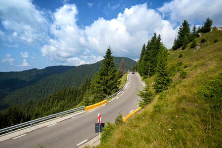 Summer Road Trip. beautiful landscape and view of a mountain road. Romania. Stock Photo