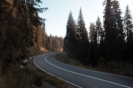 roadtrip. beautiful landscape and view of a mountain road. Romania. Stock Photo