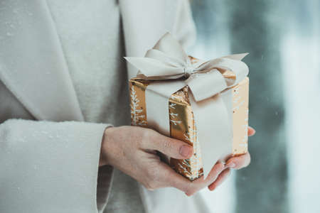 girl holding christmas presents in hands -  happy New Years