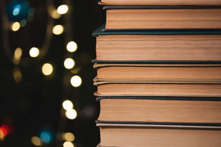 The book on bokeh background. Christmas atmosphere
