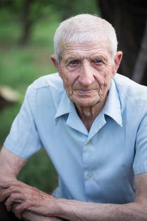 portrait of senior man close up outdoor Stock Photo
