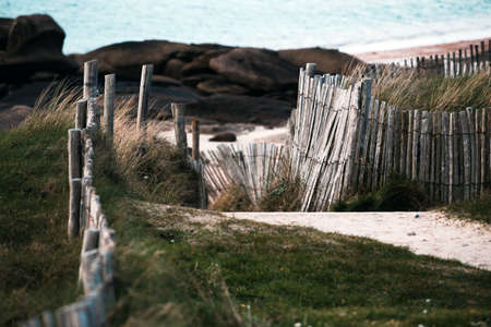 typical Brittany coast at the Tregastel in the north of France Stock Photo