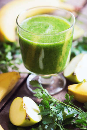 healthy breakfast - parsley, apple and banana smoothies. raw foods and vegetarianism