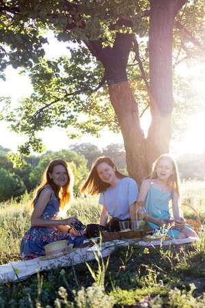 Summer - family on a picnic in a meadow in the forest Archivio Fotografico