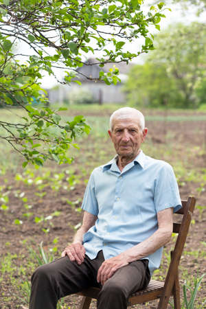 portrait of smiling senior man sitting on a chair in the garden