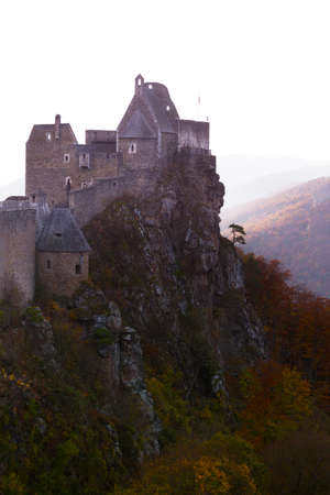 AGGSTEIN/ AUSTRIA OCTOBER 25, 2019: autumn evening view of Aggstein castle ruins and the famous Wachau Valley, Austria
