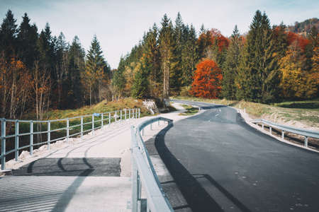 beautiful landscape. mountain road - road in the mountains of austria. autumn