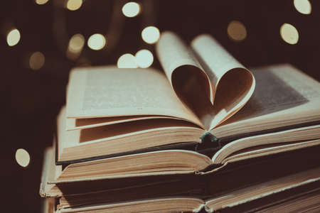 heart shaped book pages. Christmas atmosphere