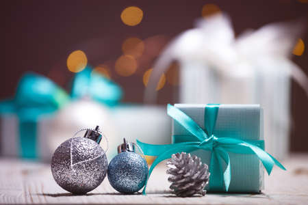 Christmas - a group of gifts on the background of garlands
