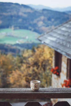 Morning coffee and mountains in the background. austrian mountains. Stock Photo