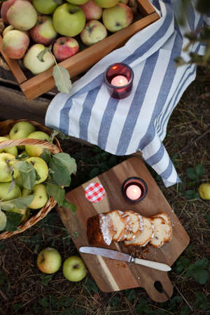 still life - basket  with juicy apples, cupcake and candles in the garden. atmosphere and mood