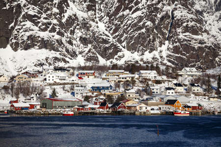 beautiful view. guide to Reine on Norways Lofoten Islands. Norway Stock Photo