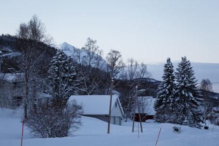 beautiful Norwegian rural landscape. Norway. beautiful snowy village in the mountains