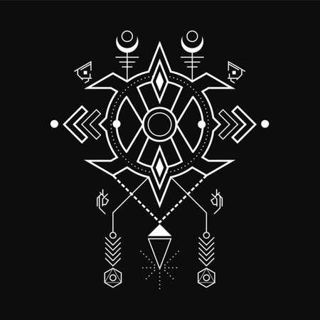 Abstract Geometric Magic Rune line art style