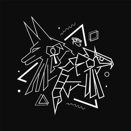 Anubis X Horus line art style