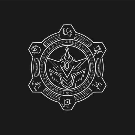 mythic symbol armored line art style