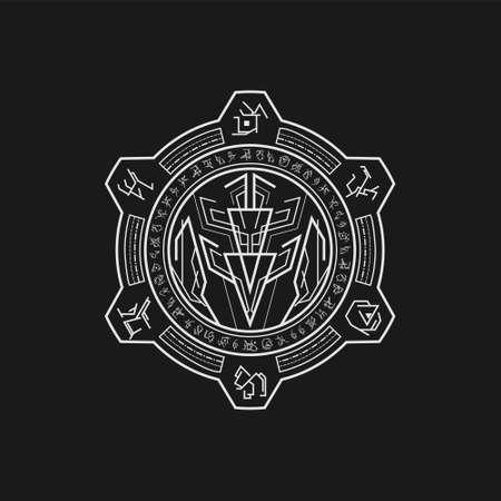 mythic symbol legend line art style