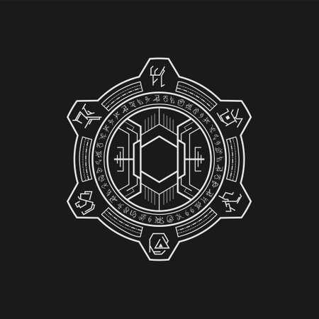 mythic symbol dark hole line art style
