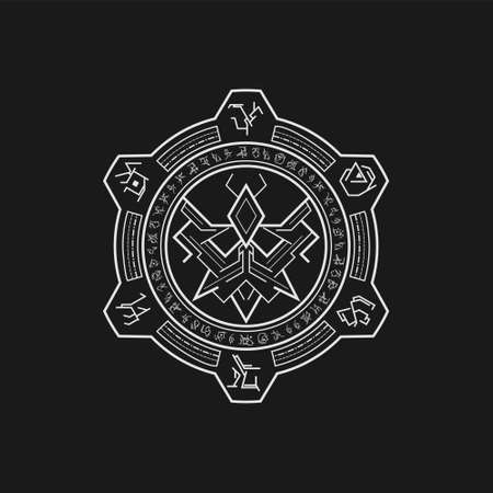 mythic symbol insect line art style