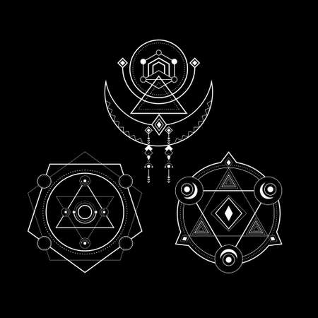 sacred geometry magic line art style