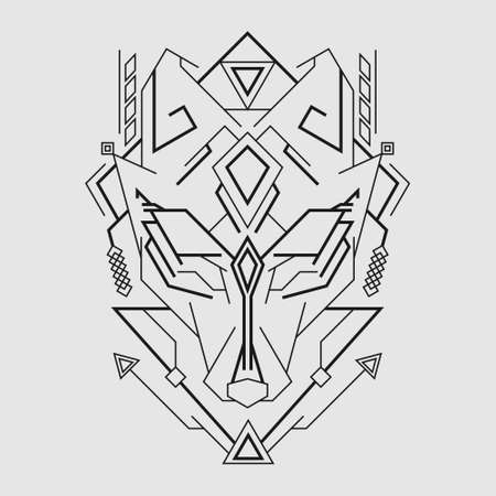 Kitsune Mask line art style