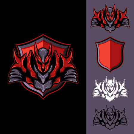 Red Dark Knight : Logo E-Sport Gaming Illustration