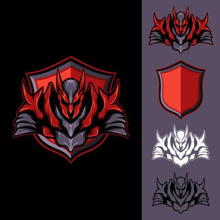 Red Dark Knight : Logo E-Sport Gaming Illustration