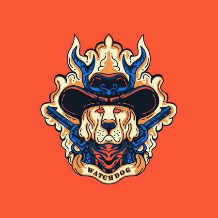 Watchdog Sheriff Illustration for merchandise, apparel, or other Illustration