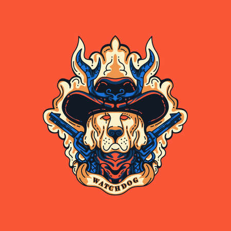 Watchdog Sheriff Illustration for merchandise, apparel, or other Vettoriali