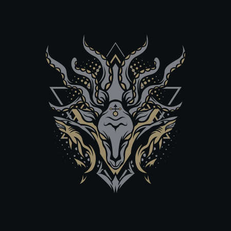 Dark Sea Illustration for merchandise, apparel, or other