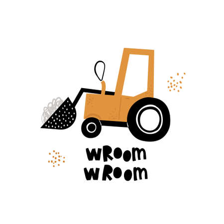 Vector hand-drawn color childrens illustration, poster, print with a cute truck and lettering wroom in Scandinavian style on a white background. Building equipment. Funny construction transport.