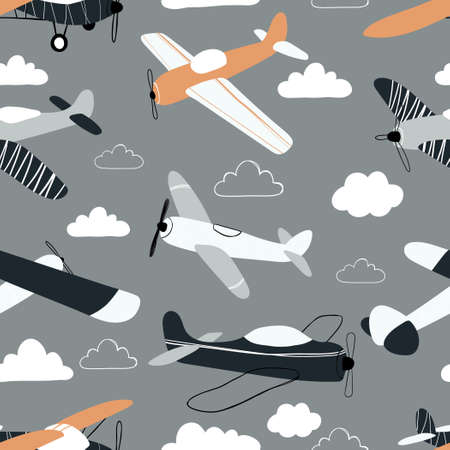 Vector hand-drawn seamless repeating children simple pattern with aircraft and clouds in Scandinavian style on a gray background.Kids seamless pattern with planes. Funny airplanes.
